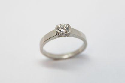 Platinum 0.506ct Brilliant Cut Diamond Half Rub Set Ring_0