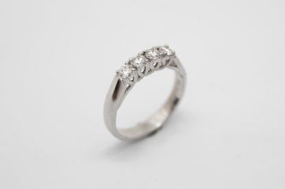 18ct White Gold Four Diamond Ring_0