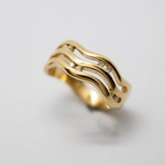 9ct Gold Diamond Three Bar Wiggle Ring_0
