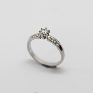 9ct White Gold Solitaire with Twin Row Side Diamonds_0