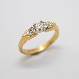 9ct Yellow Gold Diamond Solitaire with Side Diamonds_0