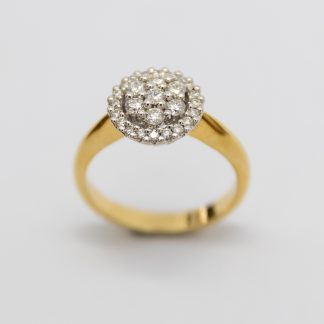 18ct Yellow Gold Diamond Cluster/ Halo Ring_0
