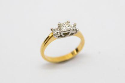 18ct Three Stone Princess Cut Lucida Ring_0