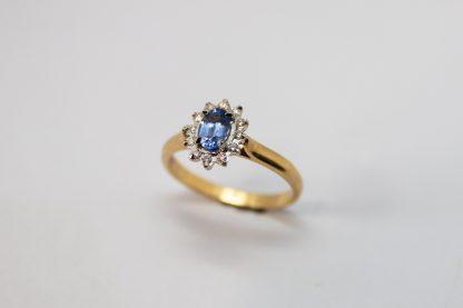9ct Yellow Gold Diamond Ceylong Cluster Ring_0