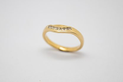9ct Yellow Gold Channel Curved Set Diamond Ring_0