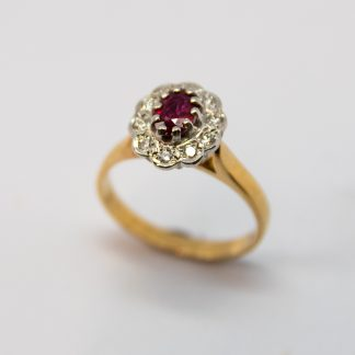 9ct Ruby and Diamond Cluster Ring_0