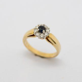 9ct Sapphire & Diamond Cluster Ring_0