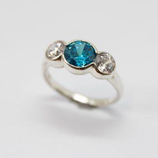 Stg Blue & White Three Stone CZ Ring_0