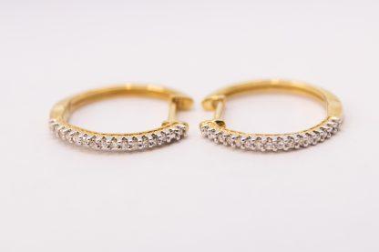 9ct Yellow Gold and Diamond Hoop Earring_0
