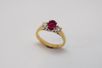 18ct Ruby and Diamond Oval Ruby Ring_0
