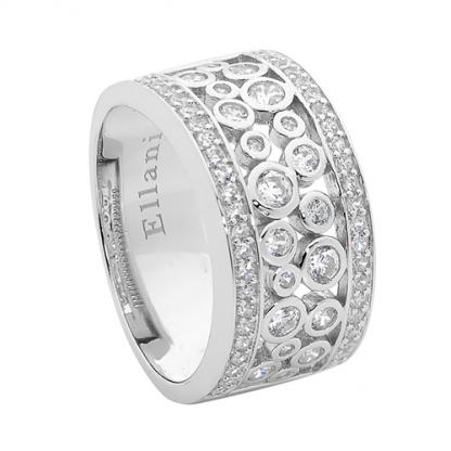 Stg Ring with White CZ Bezel Set Cluster_0