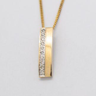 9ct Gold & Diamond Bar Pendant_0