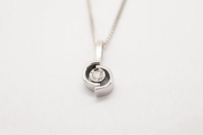 9ct White Gold Off Set Circle Diamond Pendant_0