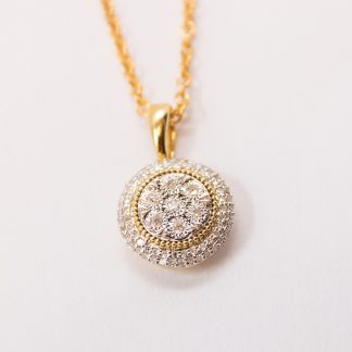 9ct Gold Diamond Pendant_0