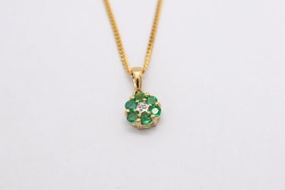 9ct Yellow Gold Emerald and Diamond Cluster Pendant with Chain_0