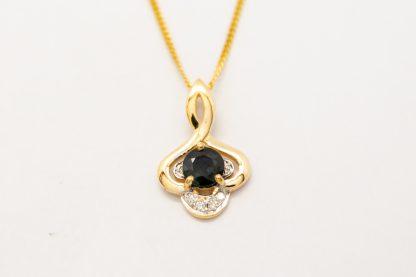 9ct Yellow Gold Sapphire Diamond Pendant_0