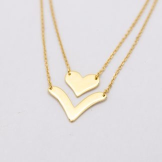 9ct Gold Two Strand Heart & V Shape Pendant Necklace_0