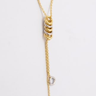 9ct White Gold and Yellow Gold Circle Pendant_0