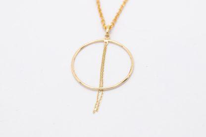 9ct Yellow Gold Circle Tassel Pendant_0