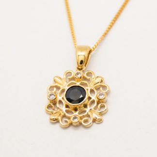 9ct Sapphire & CZ Pendant_0