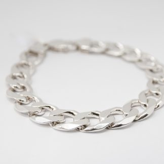 Stg Flat Bevelled Diamond Cut Curb Chain Bracelet_0