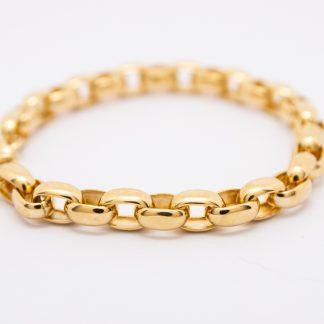 9ct Yellow Gold Oval Belcher Bracelet_0