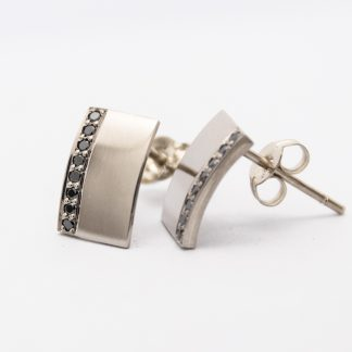 9ct White Gold Earrings with Black Diamonds_0