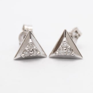 9ct White Gold and Diamond Triangle Earring_0