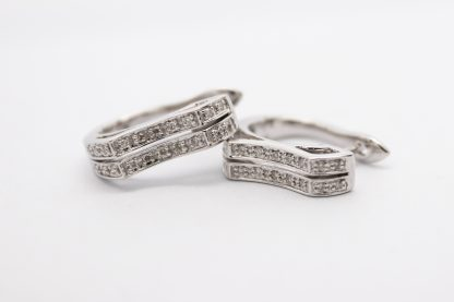 9ct White Gold and Diamond Earrings_0