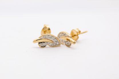 9ct Yellow Gold Diamond Leaf Style Studs_0