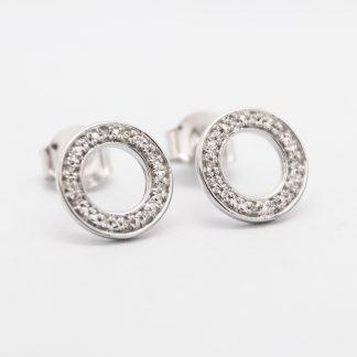 9ct White Gold & Diamond Earrings_0