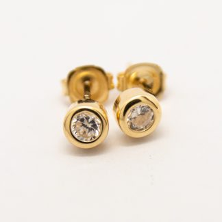 9ct Yellow Gold Donut and Diamond Stud Earring_0