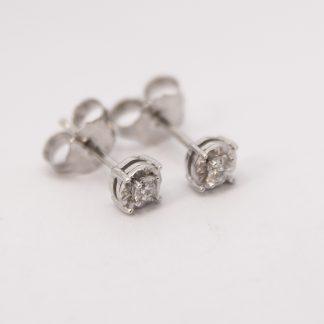 9ct White Gold Diamond Stud Earrings_0