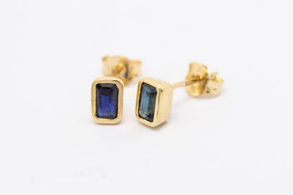 9ct Yellow Gold Emerald Cut Sapphire Studs_0