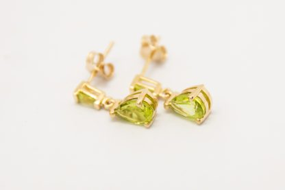 9ct Yellow Gold Pear & Tapered Bagette Peridot Earrings_0
