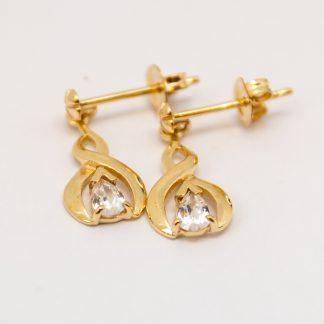 9ct Yellow Gold Drop Stud & CZ Earrings_0