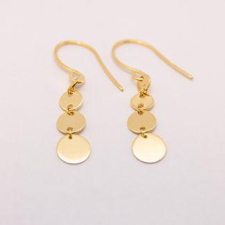 9ct Gold Flat Disc Hook Earrings_0