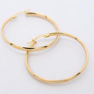 9ct Yellow Gold Plain Comfort Hoop Earrings_0