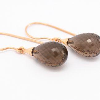 9ct Rose Gold Smokey Quartz Briolet Earrings_0