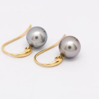 9ct Hook Earrings with Black Grey Pearl_0