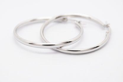 9ct White Gold Plain Comfort Hoop Earrings_0
