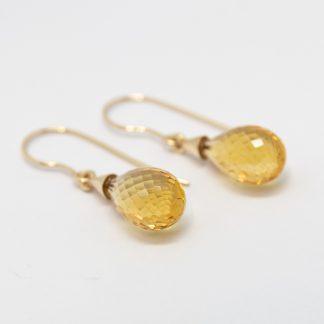 9ct Yellow Gold Briolet Citrine Hook Earrings_0