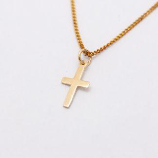 9ct Yellow Gold Plain Cross Pendant_0