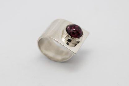 Stg Garnet CZ Rub Set Ring_0