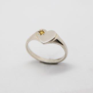 Stg/silver CZ Birthstone Heart Shape Ring (November)_0