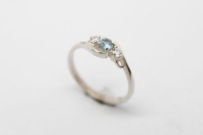 Stg/silver CZ Birthstone Ring (March)_0