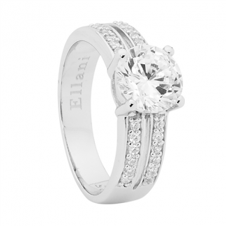 Stg White Solitaire Ring w/ a Split Band_0