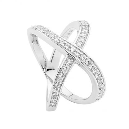Stg White CZ Split Band Cross Ring_0