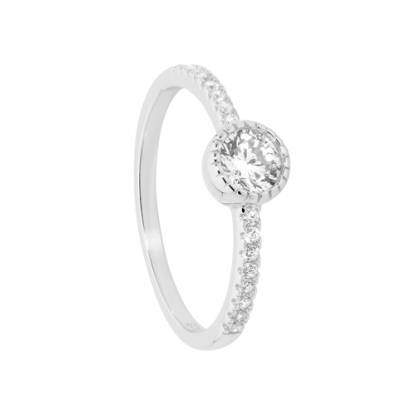 STG Crown Set Solitaire w/CZ Band Ring_0