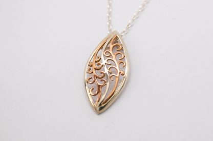 Sterling Silver 9ct Red Filigree Pendant_0